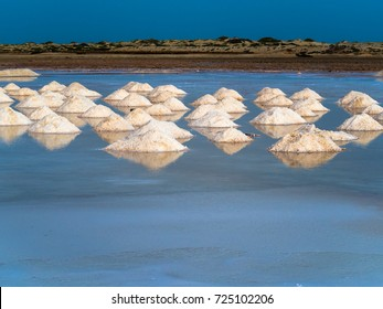 Evaporation pools with fresh salt crystals in Cape Verde, Sal Island