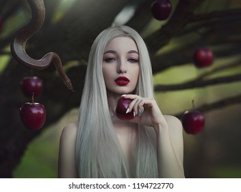 Eve with the serpent the tempter and the apple of sin. Young beautiful nude girl with very long white hair with a snake under the apple tree. Art work.