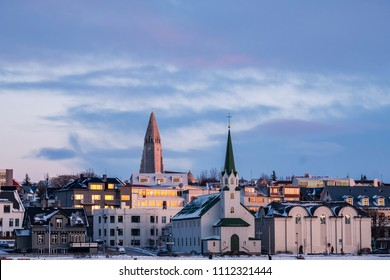 Evenig view of Reykjavik downtown with Hallgrimskirkja in the distance, Reykjavik, Iceland
