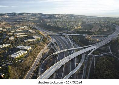 Evening aerial photo of Newport Beach/Newport Coast/Low altitude photos of Orange County California
