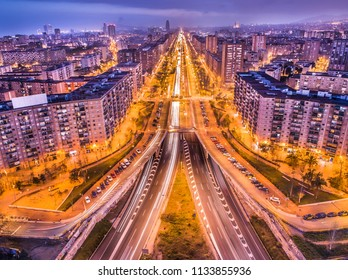 Evening aerial view of Barcelona, Spain, Gran Via avenue