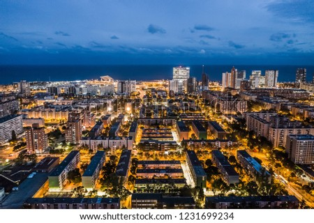 Evening Aerial View Barcelona Spain Sant Stock Photo Edit Now