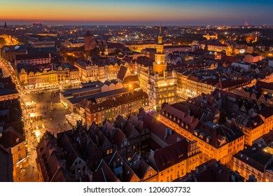 Evening aerial view on Poznan main square and old town. Poznan, Wielkopolska, Poland