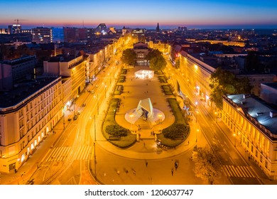 Evening aerial view on Poznan Freedom Square and fountain. Poznan, Wielkopolska, Poland