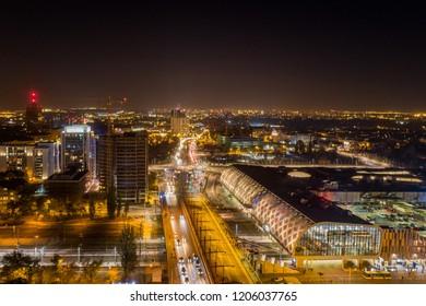 Evening aerial view on railway station in Poznan. Poznan, Wielkopolska, Poland
