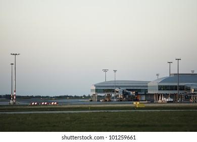 Evening airport, Prague, Czech Republic
