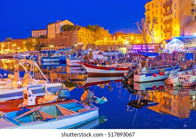 The evening in Ajaccio is the best time to visit port and enjoy dreaming boats and yachts, moored here, Corsica, France.