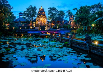 Evening atmosfere iof the Pura Saraswati Temple with beatiful lotus pond, Ubud, Bali in Indonesia