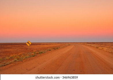 Evening in the Australian Outback, dirt road near Coober Pedy