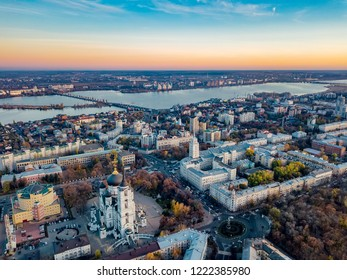 Evening autumn Voronezh, aerial view from drone to central part of Voronezh downtown