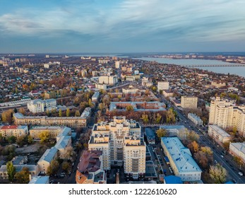 Evening autumn Voronezh, aerial view from drone to central part of Voronezh downtown.