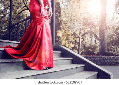Evening Ball in a red dress
