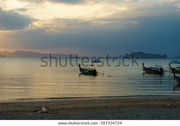 evening beach in Ao Nang, Thailand, February 2017