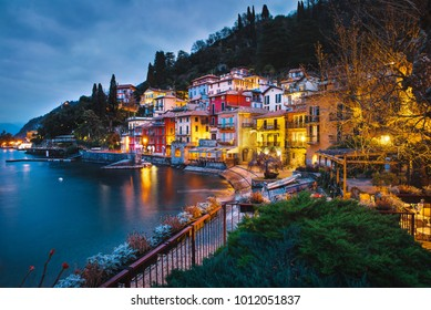 Evening in beautiful town Varenna, Colorful Italian Houses Lake Como, Lombardy, Italy