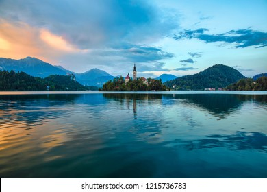 Evening at Bled, Slovenia, with Lake Bled, Bled Island, and Bled Castle