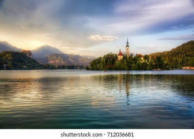 Evening at Bled, Slovenia, with Lake Bled and Bled Island