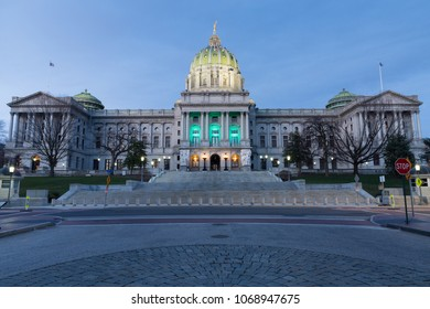 Evening blue hour shot of Pennsylvania State Capitol Building