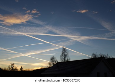 evening blue sky germany chemtrails sunset
