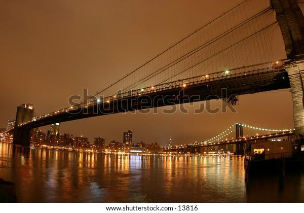 evening bridge in warm colors