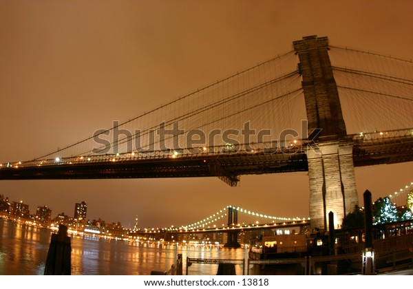 evening bridge in warm colors