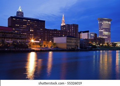Evening by the river in downtown Cleveland, Ohio.
