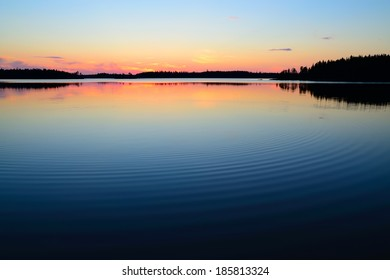 Evening calmness. Lake Engozero, North Karelia, Russia