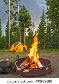 Evening in camping, Yellowstone National Park