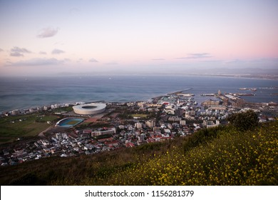 Evening Capetown view from Lion's Head hill. View to Capetown Stadium
