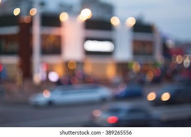 Evening city bokeh background.