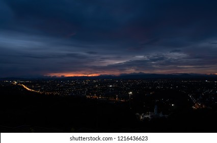 Evening city Hat Yai from Khao Kho Hong view Hat Yai, Songkhla. The twilight sky in sunset city top view