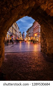 Evening in city of  Krakow in Poland, medieval Florianska Gate and street in the Old Town