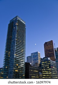 Evening in the city - view of downtown Toronto after the sunset