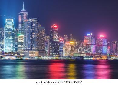 Evening city view of Hong Kong island.