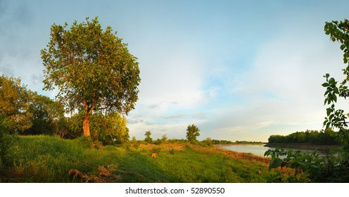 Evening. Coast of the river. Panoramic view.