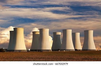 Evening colored sunset view of Nuclear power plant Jaslovske Bohunice - Slovakia