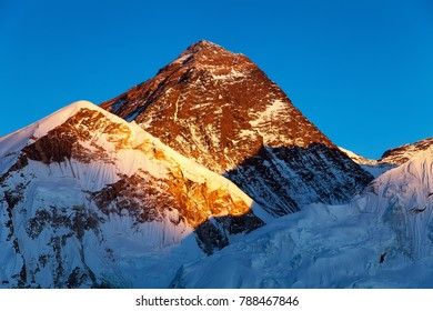 Evening colored view of Mount Everest from Kala Patthar, Khumbu valley, Solukhumbu, Sagarmatha national park, Nepal Himalayas