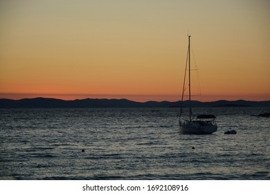 Evening cruise after sunset at sea