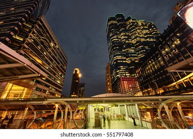 Evening csene Bangkok Silom district buildings with subway architecture construction