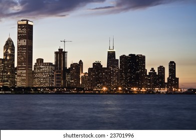 Evening in Downtown Chicago, IL.
