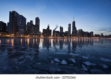 Evening in Downtown Chicago, IL, Gold Coast.