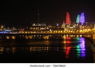 Evening embankment of Baku. view of the flame tower