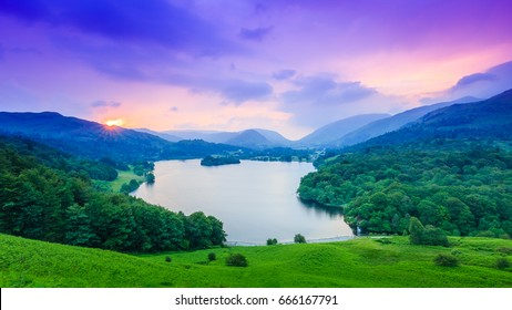 Evening falls on Grasmere, The Lake District, Cumbria, England