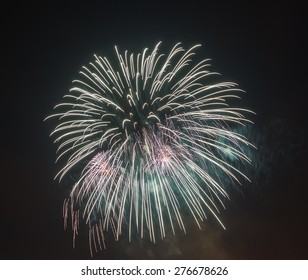 The evening fireworks in the sky in honor of selebration a of Victory Day