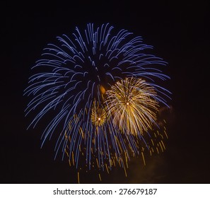 The evening fireworks in the sky in honor of selebration of Victory Day