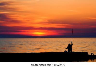 Evening fishing on the sea
