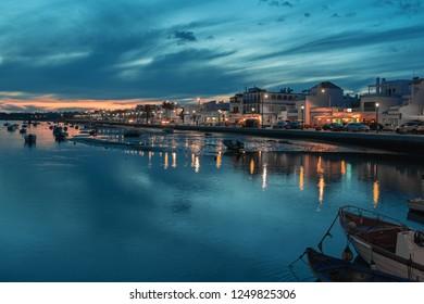 Evening in the fishing village of Santa Lucia de Tavira, Portugal