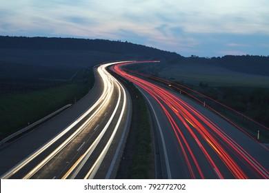 evening highway, night highway, Czech republic