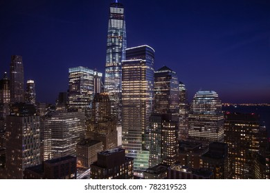 Evening image of Downtown New York City with lower Manhattan and parts of Hudson Bay.