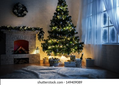 Evening interior with elegant Christmas tree and fireplace