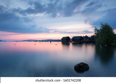 Evening at Lake Constance with stilt houses, Lake Constanz, near Uhldingen, Baden-Württemberg, Germany
